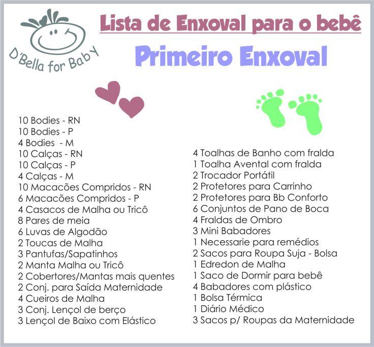 1 - Lista de Enxoval de Bebê - Lista do bebê