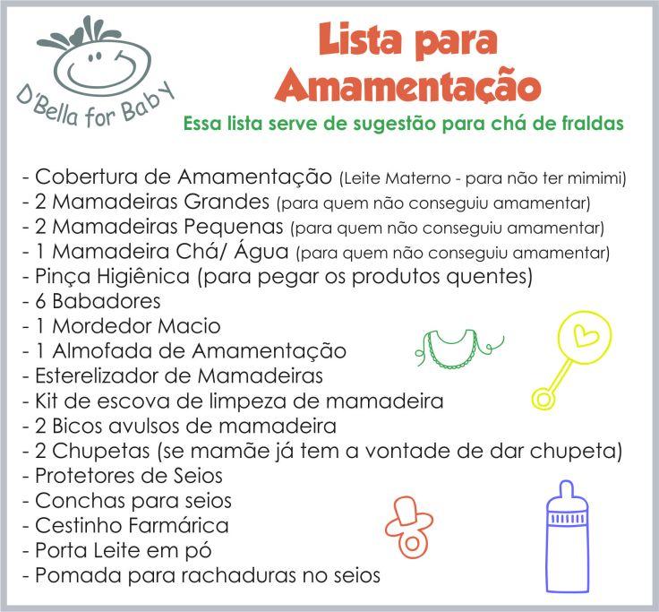 Lista de Enxoval de Bebê - Lista amamentação