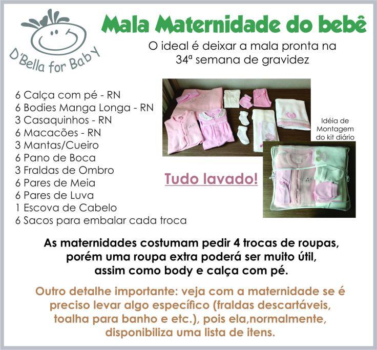 Lista de Enxoval de Bebê - Mala Maternidade como montar