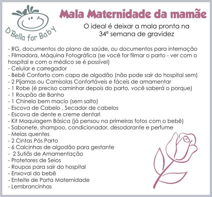 Lista de Enxoval de Bebê - Mala maternidade da mamãe
